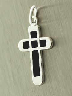 Anhänger Kreuz Silber 925 m. Email kompaktes Silberkreuz echter Silberanhänger