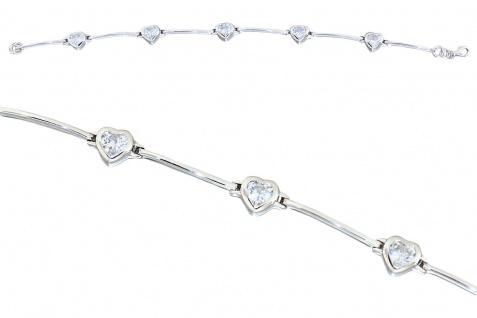 Armband Silber 925 mit Zirkonia Herzen Silberarmband mit Herz massive Armkette