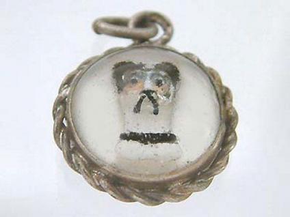 Antiker Anhänger - Hundekopf - Kristalleinlage - Silber 800 - Silberanhänger