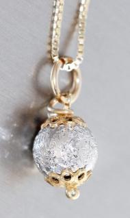 Silberkette 925 vergoldet Kugel Anhänger Halskette Venezianerkette Kugelkette