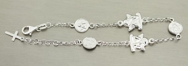 Schutzengel Armband Silber 925 Silberarmband Angelo Armkette mit Anhänger Kreuz