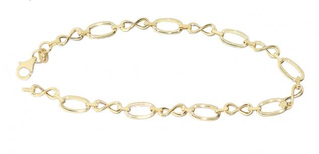 Armband Gold 585 Infinity Armkette 14 Kt. Damen Goldkette Karabiner 19 cm