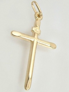 Großes flaches Goldkreuz 585 - Anhänger Kreuz Gold 14 kt - INRI - Goldanhänger