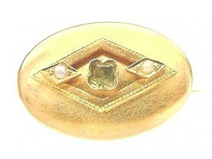 Antike Brosche Gold 750 mit Peridot Perlen kleine 18 Kt. Goldbrosche um 1870