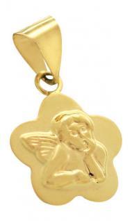 Kleiner Engel Gold 585 Kinder Schutzengel Anhänger - Goldanhänger Blume Taufe