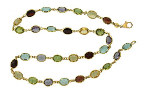 50 cm wertvolle Goldkette 585 - Edelsteinkette multicolor - Kette Gold - Collier