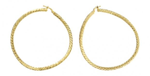 5, 4 cm geschwungene Creolen Gold 585 Ohrringe Goldcreolen Creolen facettiert