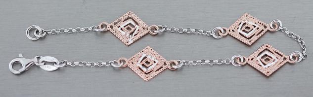 Armband Silber 925 Rotgold Silberarmband - Rauten Rose Gold vergoldet - Armkette