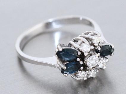 Eleganter Ring Weißgold 585 14 karat Gold, Goldring mit Safir und Brillanten