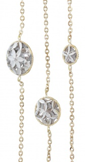 Kette Gold 750 bicolor 87 cm lange Halskette runde Dekorglieder Collier 18 Kt