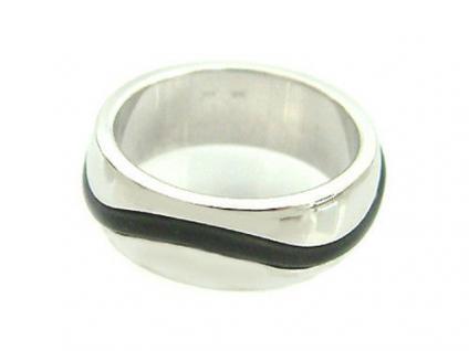 Massiver Silberring 925 mit Kautschukwelle - Bandring - Ring echt Silber