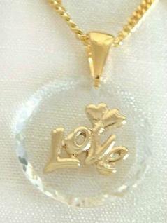Kette u. Anhänger mit facettiertem Kristall LOVE - Goldkette pl - Panzerkette