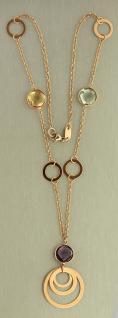 Rosegold 585 Edelstein Collier - Goldkette - Collier - Edelsteinkette Halskette