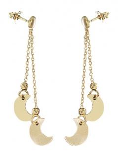 Silbermond Ohrhänger 925 Gold Ohrstecker lange Silberohrhänger Ohrring vergoldet