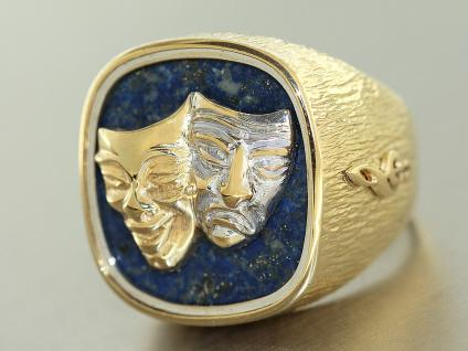 Ring Gold 585 Lapis Lazuli Goldring Gelbgold 14 Kt Venezianische Masken 25, 6 gr.
