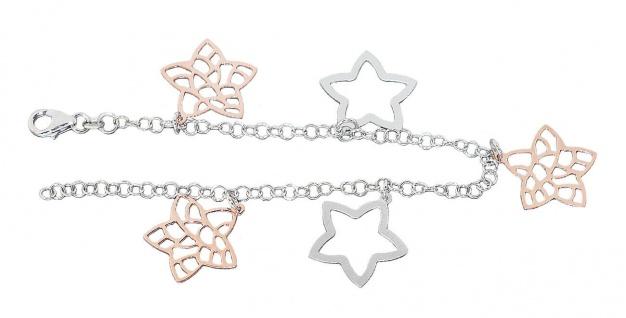 Armband Silber 925 Anhänger Sterne Armkette bicolor Rotgold vergoldet Karabiner
