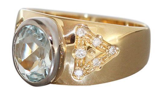 Goldring 750 mit Aquamarin und Brillanten - Ring - Brillantring - Damenring Gold