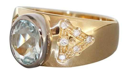 Goldring 750 mit Aquamarin und Brillanten Ring Brillantring Damenring Gold