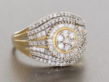 Brillant Diamant Damenring Gold 585 mit 1, 1 ct. Diamanten Brillantring Goldring