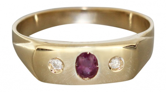 Allianzring Gold 585 Rubin und Brillanten Goldring Damenring Brillantring RW 59