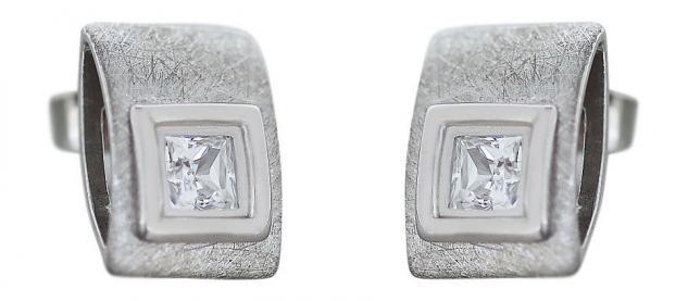 Ohrstecker Silber 925 Quadrat im Rechteck mit Zirkonia Silberstecker Ohrringe