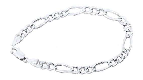 21 cm Figaroarmband Silber 925 Armkette Sterlingsilber rhodiniert Silberarmband