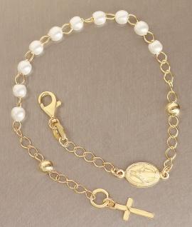 Rosenkranz Armband echt Silber 925 Gelbgold vergoldet Perlen weiß Kreuz Maria