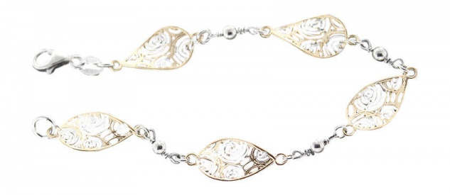 Silberarmband 925 vergoldet - Armband Silber massiv - Designer Armkette Gold
