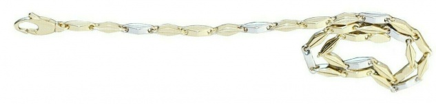 Armband Gold 585 bicolor Armkette 21 cm Gelbgold Weißgold 14 Kt Karabiner