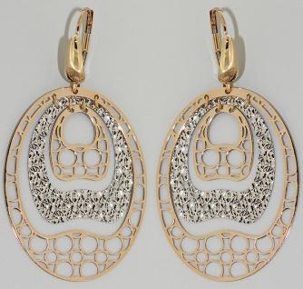Große Ohrhänger Gold 585 - Ohrringe lang und beweglich Goldohrringe bicolor 14kt