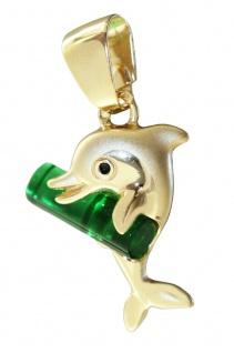 Delfin Anhänger Gold 375 Kettenanhänger kleiner Golddelfin Schmuckstein grün
