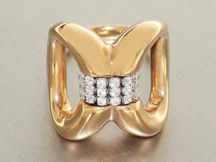 Super Optik! Goldring 585 mit Zirkonias - Ring Gold - moderner Damenring - RW 58