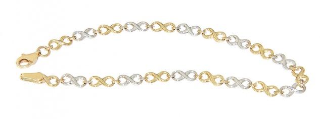 Infinity Armband Gold 585 Armkette mehrfarbig Karabiner 19 cm Damen
