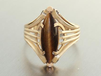 Ring Gold 585 mit Tigerauge, Goldring 14 karat, Damenring