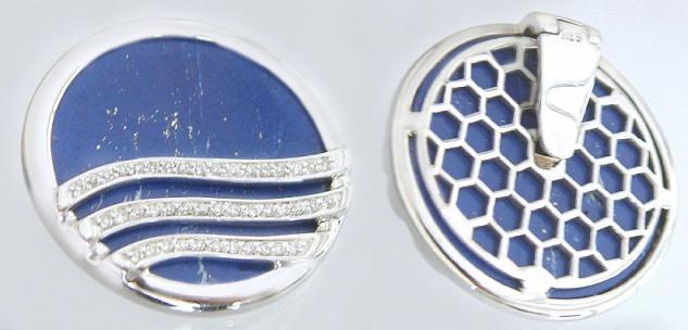 Weißgoldanhänger 750 Brillant 0, 29 ct. u. Lapis Lazuli Collant aufklappbar