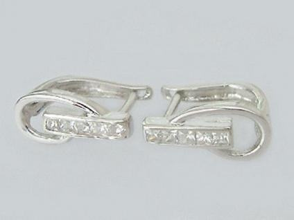 Ohrringe Silber 925 mit Zirkonia edle Klappcreolen Silbercreolen Creolen