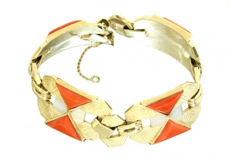 Breites Armband Gold 750 mit Koralle Goldarmband 35, 1 gr.schwere Armkette 18 Kt