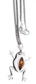Silberkette mit Anhänger Silber 925 Bernstein 42 cm Halskette Frosch beweglich