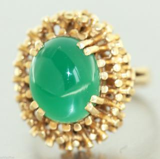 Ring in 14 kt Gold (585/000) mit 1 grünen Achat