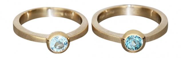 Zeitloser Solitärring Gold - Ring Gelbgold 585 massiv mit Blautopaz Goldring