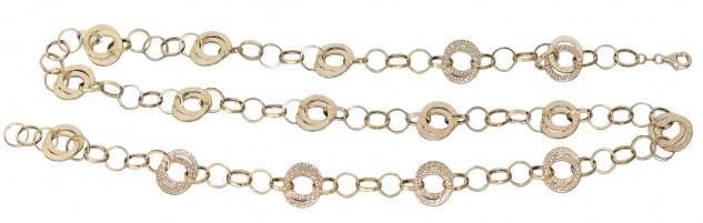Kette Gold 585 große Glieder Collier Damen 86 cm lange Halskette Karabiner