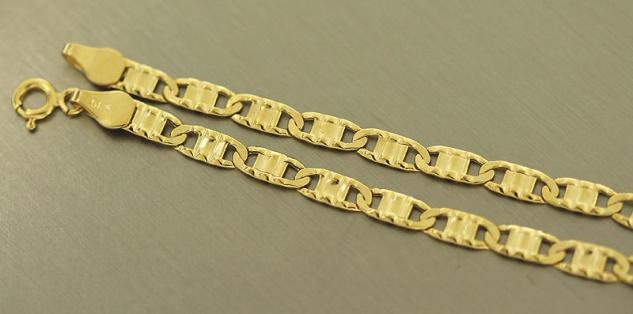 Goldarmband 585 20 cm flaches Armband Gold Armkette Glieder mit Struktur 14 kt