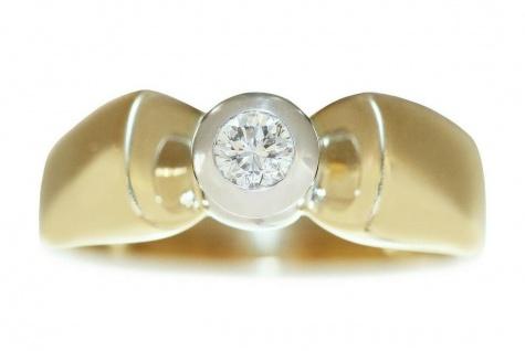 Ring Gold 585 bicolor Brillant Solitär 0, 14 ct. Diamantring RW 54 Goldring