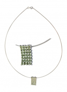 Halsreif Silber 925 Anhänger mit Zirkonias grün 45 cm Collier Silberkette