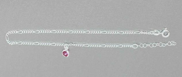 Massives Fußkettchen echt Silber 925 pink Zirkonia Fußkette Silberkette