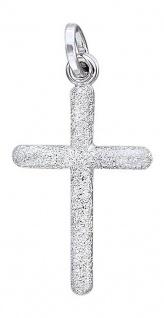 Kreuz Weißgold 14 Karat Anhänger diamantiert Gold 585 Rückseite glatt