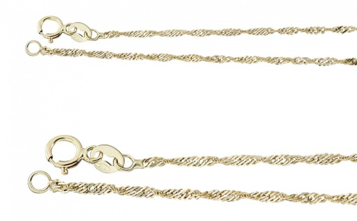 42 45 50 cm Feine massive Goldkette 585 Singapurkette Halskette Echt Gold Kette
