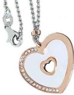 Kette Silber 925 Herz Anhänger Rosegold mit Perlmutt u Zirkonias Erbskette