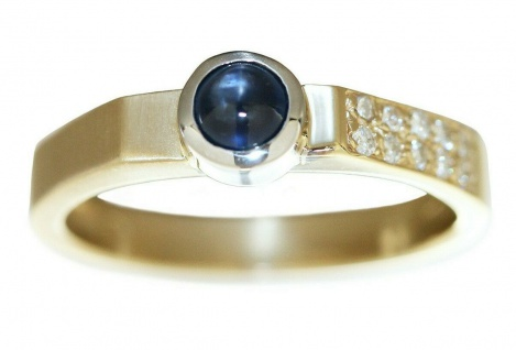 Goldring 585 massiv Brillanten 0, 12 ct. und Saphir Ring Gold 14 Kt. Diamantring
