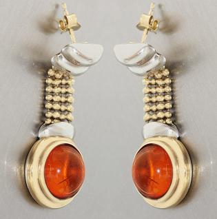 Ohrhänger Gold 585 mit Bernstein Goldohrhänger Ohrstecker Ohrringe 14 kt Gold